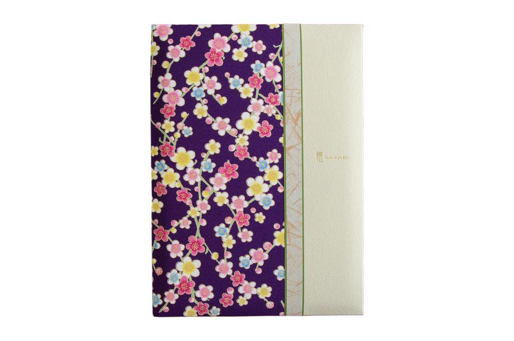 紫花柄/クリーム